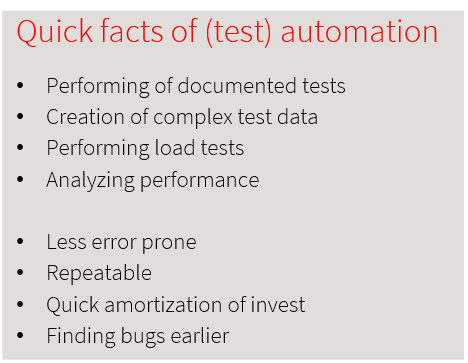 Quick facts of (test) automation